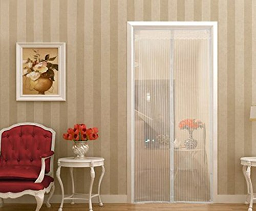 Magnetic Screen Door,Sell4Style Mesh Curtain - Mosquito Net Fits Doors up to 39'x83' Keep Bugs Out,White Color