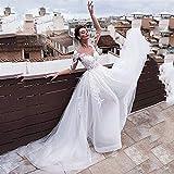 QIUXIANG Abito da sposa femminile Lusso V collo di Tulle del Organza Abiti da sposa 2 in 1 a maniche lunghe vestito nuziale con staccabile gonna di pizzo Appliques abiti di nozze