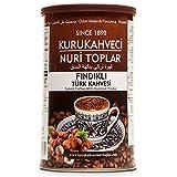 Kurukahveci Nuri Toplar Café turco molido con sabor a avellana tostado en leña, caja metálica de 250 g