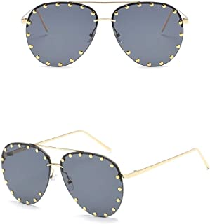 Chezi Unisex Rimless Cut-out Rivet Studded Lens Aviator Sunglasses