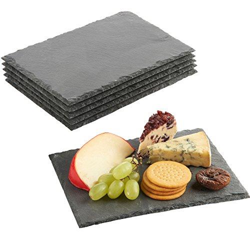 VonShef Schieferplatten 6 TLG. Set - Servierplatten Käseplatten Tapas Serviertablett - Teller aus 100% Naturschiefer - 22x16 cm - Ideal zum Servieren von Tapas, Gebäck, Käse & vieles mehr!
