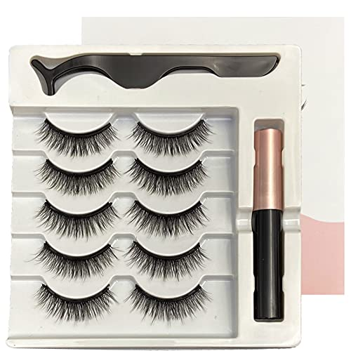 5 paires magnétiques faux cils avec eye-liner Couple Couple plein Stramatique épais de soie de Silk en gros en gros naturel cils de maquillage de maquillage de maquillage de maquillage de maquillage