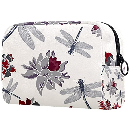 Bolsa de maquillaje portátil de viaje grande para cosméticos, neceser, maquillaje, afeitadora, para hombres, mujeres y niñas, libélula y flores