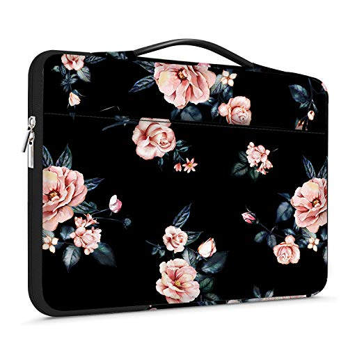 Lapac 13-13.3 inch Laptop Sleeves Pink Floral Handle Bag Compatible with MacBook Air, Mac Pro, Notebook Computer, Chromebook Case, 360 Protective Briefcase & Waterproof Rose Flower Bag with Pocket