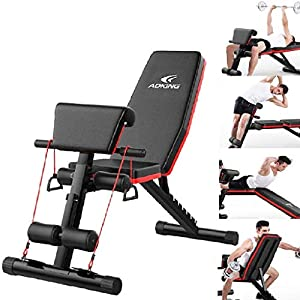 Adjustable Sit Up Bench – Home Gym Adjustable Utility Weight Bench Foldable Workout Bench with 2 Fitness Rope, Roman Chair Adjustable Sit Up Incline ABS Bench Flat Fly Weight Machine
