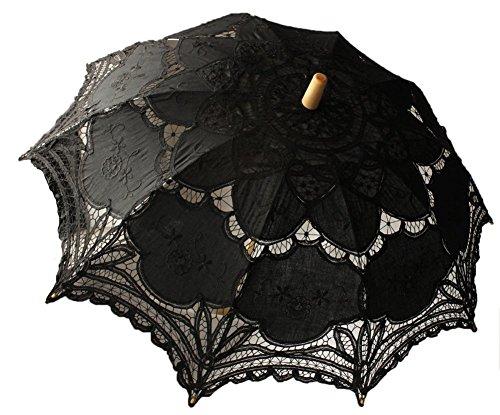 jellbaby weiß Hochzeit Spitze Sonnenschirm Regenschirm Victorian Lady Kostüm Zubehör Braut Partei Dekoration schwarz Einheitsgröße