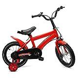 Berkalash - Bicicleta infantil de 14 pulgadas, unisex, con ruedas de apoyo de contrapedal (rojo)