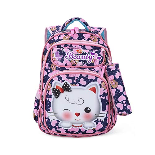 Tinytot Kitty School Bag or School Backpack for Girls with Pencil Pouch (Blue & Pink) 26 L