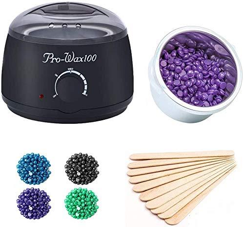 AMMIY Wax Warmer, Wachswärmer Wax Warmer Heisswachs Haarentfernung Wachserhitzer Waxing Kit Wachsgerät mit Thermostat 80℃- 110℃ Behälter 500ml mit 4 verschiedene Aromen Bean + 50 pcs Holzspatel-Sc