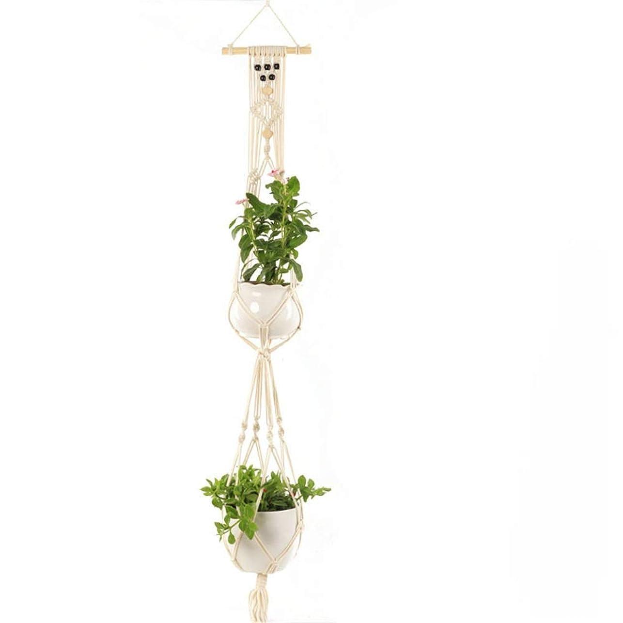 ジャンク高層ビル気分吊り下げロープ マクラメ ハンギングプランター 植物ハンガー屋内屋外マクラメ植木鉢綿ロープハンガー (色 : ベージュ, サイズ : One)