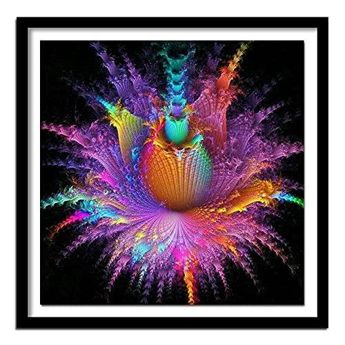 ZXXGA DIY 5D Diamante Pintura Conjunto Completo de Flores abstractas Cristal Rhinestone Bordado Fotos artesanía Regalos para la decoración de la Pared del hogar Diamante Redondo 50x50cm