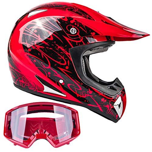 Typhoon Adult Dirt Bike Helmet & Goggles ATV Motocross DOT, Red w/Red (XL)