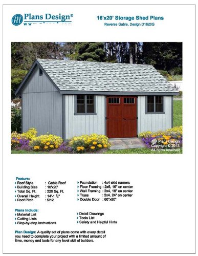 Classic Outdoor Structures Storage Shed Plans 16' x 20' Reverse Gable Roof Style Design # D1620G
