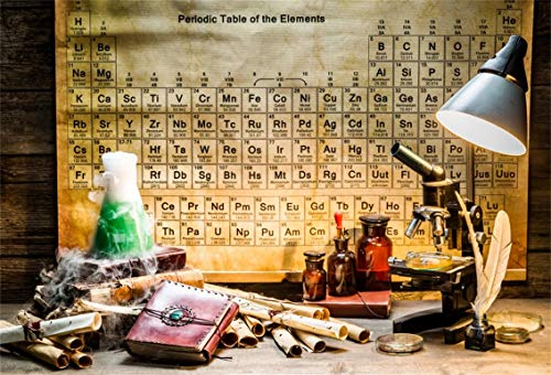 Leyiyi 5x3ft Vintage Chemistry Lab Backdrop Rustic Wooden Cottage Retro Maps Chemist Microscope Retro Periodic Elements Table Quil Photo Background Cowboy Kids Portrait Studio Prop Vinyl Banner