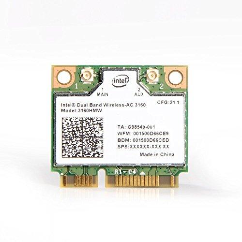 Intel® Wireless-AC Dual Band Wireless-AC 3160 802.11 a/b/g/n/ac (1x1) Wi-Fi + Bluetooth 4.0 Combo