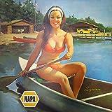 Pinup Tin Sign Garage Vintage pin up girl canoe lake muscle car metal sign man cave decor