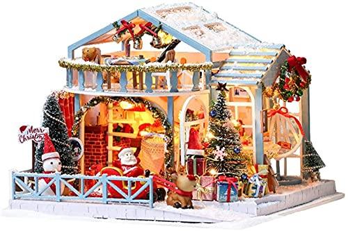 MWKL Lujoso Kit de casa de muñecas de Madera para Bricolaje, Caja de música, Miniatura ensamblada, Modelo a Escala 1:24, casa con luz, música, Mini artesanía, casa de Noche Nevada de Navidad