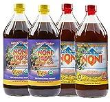 TAHITI TRADER Mix & Match (4 Pack) - Original High Potency Noni & Organic Noni 100% Noni Island Style Juice - Pure Noni Juice - Noni Tahiti Juice - Juice Noni - Tahiti Juice - Noni Fruit Juice