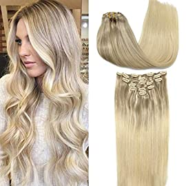 GOO GOO Clip in Hair Extensions Ombre Ash Blonde to Golden Blonde and Platinum Blonde Remy Human Hair Extensions Clip in…