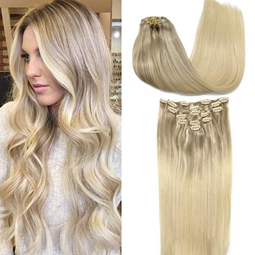 GOO GOO Hair Extensions Clip in Ombre Ash Blonde to Golden Blonde and Platinum Blonde Clip in Human Hair Extensions Real Natural Hair Extensions Thick 120g 16 Inch