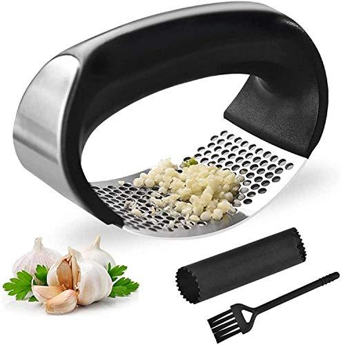 Knoblauchpresse,Knoblauchschneider Edelstahl rostfrei Handbuch,Ingwer Smasher Crusher Squeezer Slicer Küchenhelfer,Einfach zu verwenden und Reinigung…