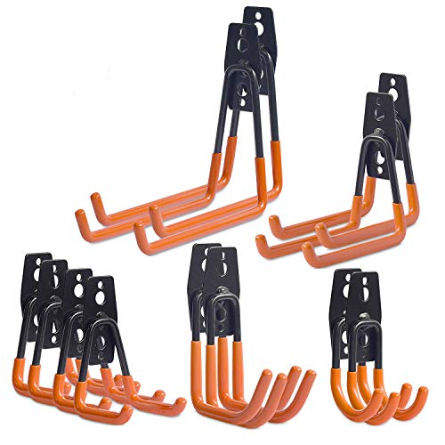Garage Haken,12 Stück Garage Storage Utility Doppelhaken, Multi-size Heavy Duty Eisen Wandhalterung Werkzeughalter für Home Chair Ladder, Organisation von Elektrowerkzeugen Orange