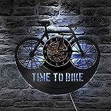 KEC Reloj de Pared de Bicicleta de montaña con Cita de inspiración para Ciclistas Time To Bike