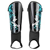 Zealony Soccor Shin Guards for Kids, Youth and Adults (Blue and Black, M)