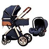 WOYIN Luxury Baby Stroller 3 in 1 High Landscape Baby Pushchair Bassinet for Newborn,Compact Foldable Anti-Shock Springs Pram Baby Stroller with Baby Basket (Color : Blue)