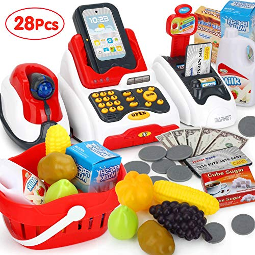 Pretend Play Smart Cash Register Toy, Kids Cashier with Checkout Scanner,Fruit Card Reader, Credit...