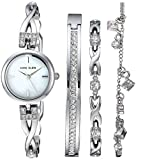 Anne Klein Women's Swarovski Crystal Accented Silver-Tone Watch and Bracelet Set