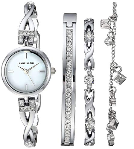 Anne Klein Womens Swarovski Crystal Accented Silver-Tone Watch and Bracelet Set