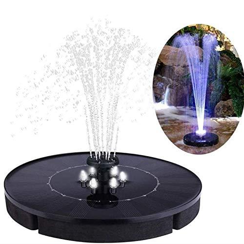 Solar Springbrunnen Pumpe 2,5W mit LED Beleuchtung schwimmende Brunnen Solarpumpe mit 6 Düsen für Garten Dekoration