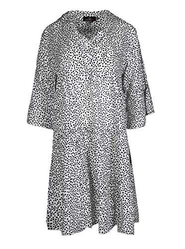Zwillingsherz Freizeitkleid im Punkte Design – Hochwertiges Sommerkleid für Damen Frauen Mädchen - Abendkleid Strandkleid - Locker luftig - OneSize - Perfekt für Frühling Sommer und Herbst - weiß