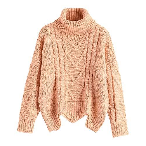 ZAFUL Damen Rollkragen Lässige Einfarbig und Farbe Sweatshirt Langarm Stricken Warmer Pullover (EINHEITSGRÖSSE, Rosa)