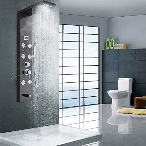 Duschpaneel,Thermostat Edelstahl Duschpaneel, Duschsystem mit LCD Display Regendusche, Wasserfalldusche, Handbrause, Badarmatur, Wandmontierte Duschsäule 4 Modi Waschen Sie die Müdigkeit weg