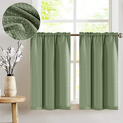 Waffle-Weave Textured Tier Curtains for Kitchen Water-Proof Window Curtains for Bathroom (72-inch x 36-inch, Sage, Set of Two)