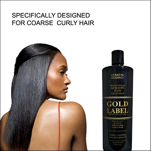 Gold Label Professional Results Brazilian Keratin Blowout Hair Treatment Enhanced Specifically Designed for Coarse Curly Dominican Brazilian Hair 240ml
