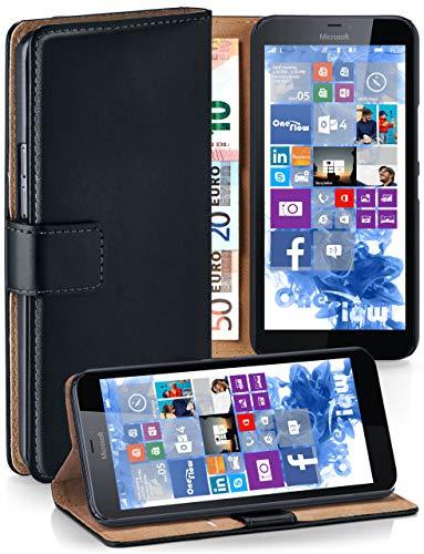 MoEx Cover a Libretto Compatibile con Microsoft Lumia 640 XL   Fessura Carta + Soldi, Supporto, Nero