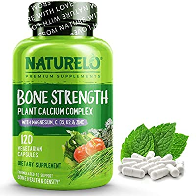 NATURELO Bone Strength - Plant-Based Calcium, Magnesium, Potassium, Vitamin D3, VIT C, K2 - GMO, Soy, Gluten Free Ingredients - Whole Food Supplement for Bone Health