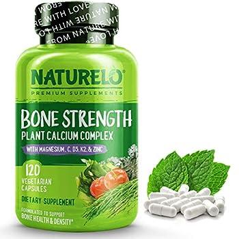 NATURELO Bone Strength - Plant-Based Calcium Magnesium Potassium Vitamin D3 VIT C K2 - GMO Soy Gluten Free Ingredients - Whole Food Supplement for Bone Health - 120 Vegetarian Capsules