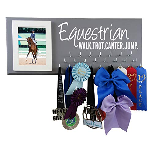 Running On The Wall Marathon Medals Holder   Display Your Racing Medals & Picture in Style   Equestrian
