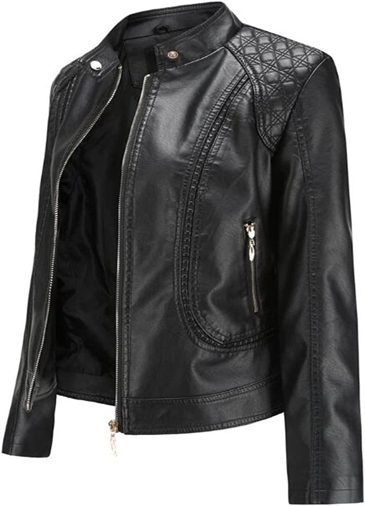 CDQYA Spring and Autumn Women's Leather Jackets European and American Large Size Stand-up Collar PU Jacket Women's Leather Jackets (Color : Gray, Size : M Code)