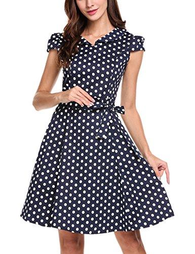 Zeagoo Damen Vintage 50er Jahre Kleid Swing Rockabilly Cocktailkleider Partykleider Sommerkleider Kurzarm mit Gürtel Blau Weiß M - 3