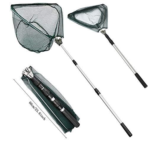 Xndryan Kescher zum Angeln, 180 cm Teleskop-Fischernetzkescher mit Griff, tragbarer, faltbarer Kescher, langer Griff, für Teiche Karpfen Forellenangeln