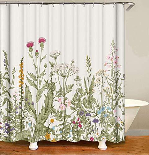 Fullfun Duschvorhang mit Wildblumen & Pflanzen, 180 x 180 cm, waschbarer botanischer Duschvorhang mit Vintage-Blumenmuster, inkl. 12 verschleißfesten Haken (Retro-Blumen, 180 x 180 cm)