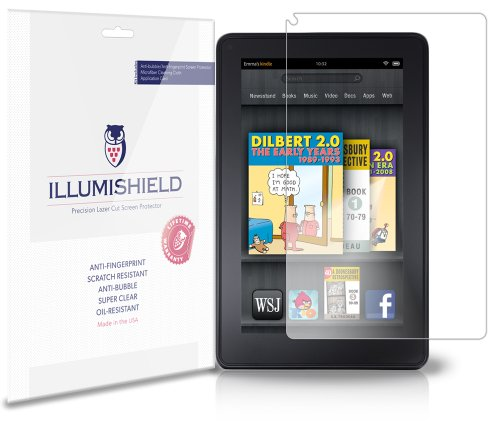 iLLumiShield Screen Protector Compatible with Amazon Kindle Fire 7 inch (2012)(3-Pack) Clear HD Shield Anti-Bubble and Anti-Fingerprint PET Film