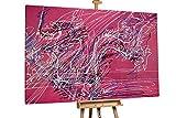 Kunstloft® Extraordinario Cuadro al óleo 'Dezente Eleganz' 180x120cm | Original Pintura XXL Pintado a Mano sobre Lienzo | Abstracto Blanco Fucsia | Mural de Arte Moderno