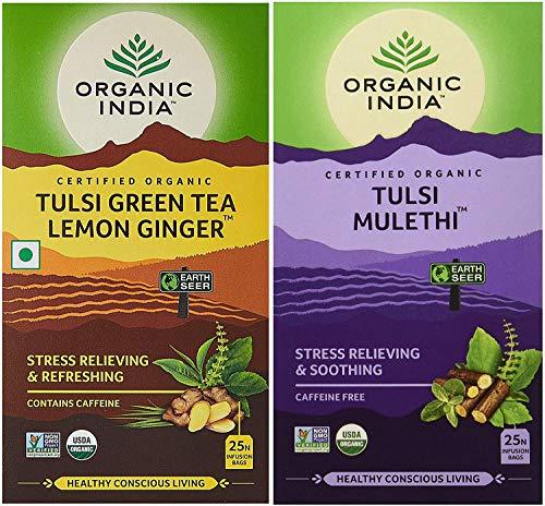 ORGANIC INDIA Tulsi Green Tea Lemon Ginger + Tulsi Mulethi - 25 Tea Bags