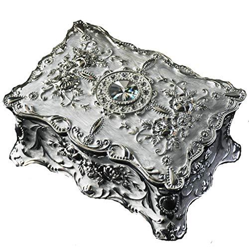 guoqunshop Titular de Collar Vendimia de la joyería Europea Joyero Rectangular Decorativo de colección de joyería Cajas de Recuerdo for Las Mujeres Organizador de Joyas (Color : White)
